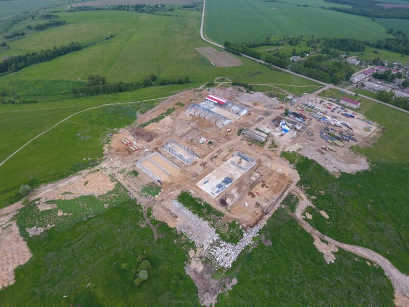 Agrofirm Meshchovskaya from the air, construction control